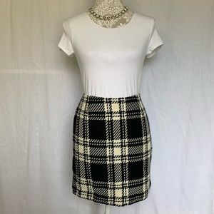 INC // Black, Cream Plaid Wool Mini Skirt 10P